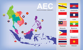 Map of AEC Asean Economic Community. With flags Stock Images