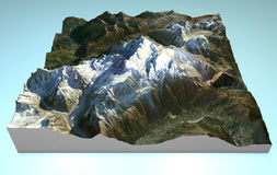Map aerial view of Mont Blanc. Aerial view of Mount Bianco and the surrounding area, map in 3d Stock Photo
