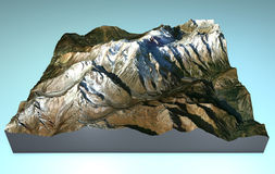 Map aerial view of Mont Blanc. Aerial view of Mount Bianco and the surrounding area, map in 3d Stock Photos