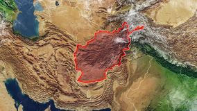 Map of Afghanistan and borders stock footage