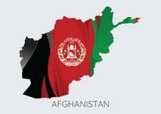 Map of Afghanistan With Flag As Texture. Isolated On Grey Background. Vector Illustration Stock Photo