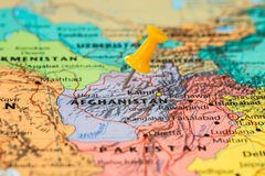 Map of Afghanistan with a orange pushpin stuck Stock Images