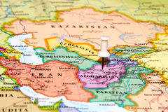 Map of Afghanistan with a white pushpin Royalty Free Stock Photos