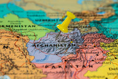 Map of  Afghanistan with a yellow pushpin stuck Royalty Free Stock Photo