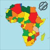 Map of africa. Political map of Africa in colors, easy to edit, copy, paste, move countries Stock Image