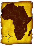 Map of Africa. On the old background with a compass Stock Image