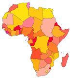 Map of Africa. With beutiful colours Royalty Free Stock Images