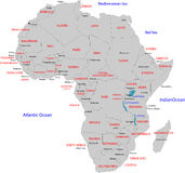 Map of Africa. A map of the African continent with each country on the continent colored in grey colors Stock Photography