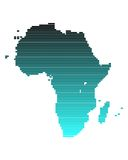 Map of Africa. In broad lines with turquoise gradient Stock Illustration
