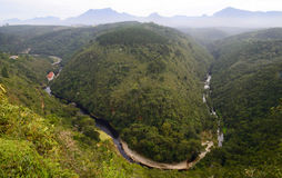 'Map of Africa', aerial photo of the Kaaimans River valley, Wilderness National Park. Stock Photos