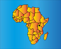 Map of Africa. The African Continent with Separable Borders Stock Image