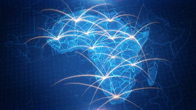 Map of the Africa with the animated background. stock footage