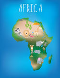 Map of Africa with cute wildlife and animals Royalty Free Stock Photo