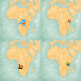 Map of Africa - DR Congo, Kenya, Angola and Tanzania Stock Photography