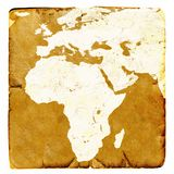 Map of Africa and Europe blank in old style. Brown graphics in a retro mode on ancient and damaged paper. Basic image of earth cou Stock Images