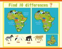Finding the differences on the map of Africa. Map of Africa with the game know the difference with the answer at the bottom Stock Photo