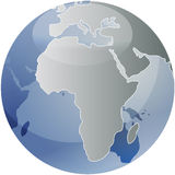 Map of Africa on globe Stock Photography