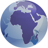 Map of Africa on globe   Royalty Free Stock Image