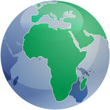 Map of Africa on globe   Royalty Free Stock Photos