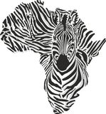 Map of Africa with the head zebra Royalty Free Stock Image