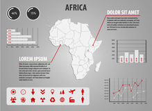 Map of Africa - infographic illustration with charts and useful icons Royalty Free Stock Photography