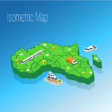 Map Africa isometric concept. Stock Image