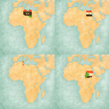 Map of Africa - Libya, Egypt, Tunisia and Sudan. Libya, Egypt, Tunisia and Sudan on the map of Africa. The map is in soft grunge and vintage style, like Royalty Free Stock Photography