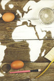 Map of Africa made of flour Stock Photo