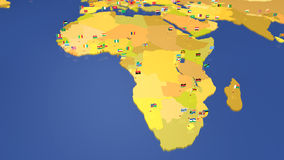 Map of Africa with national flags Stock Photography