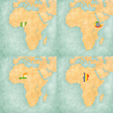 Map of Africa - Nigeria, Ethiopia, Niger and Chad. Nigeria, Ethiopia, Niger and Chad on the map of Africa. The map is in soft grunge and vintage style, like Stock Images