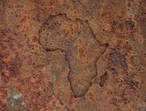 Map of Africa on rusty metal Stock Images