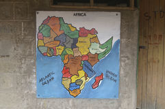 Map of Africa on the wall of a primary school, Kenya, Africa Stock Photo