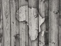 Map of Africa on weathered wood Royalty Free Stock Photography