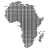 Map of the African continent. Dotted, pixel Map of the African continent. Original abstract vector illustration Stock Image