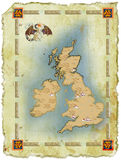 Map in age-old style with a dragon Stock Photo