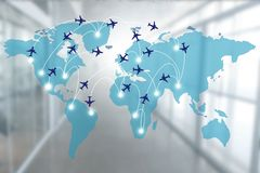 Map with airplane routes royalty free stock image