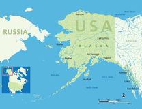 Alaska map. Map of Alaska, USA with small location map. Vector illustration Stock Images