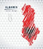 Map of Albania with hand drawn sketch map inside. Vector illustration. Vector sketch map of Albania with flag, hand drawn chalk illustration. Grunge design Stock Photography