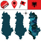 Map of Albania with named divisions. Vector map of Albania with named divisions and travel icons Royalty Free Stock Photos