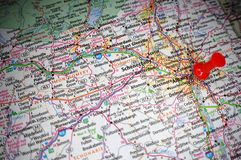 Albany, New York. A map of Albany, New York marked with a push pin stock image