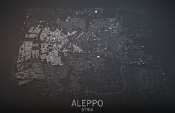 Map of Aleppo, Syria, satellite view. Map in 3d Stock Photos