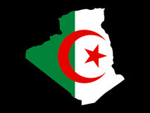 Map of Algeria. And Algerian flag illustration Royalty Free Stock Images
