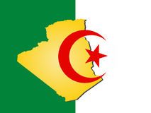 Map of Algeria. And their flag illustration Stock Photos