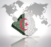 Map of Algeria. With Algerian Flag on a world map background Royalty Free Stock Photography