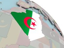 Map of Algeria with flag. Illustration of Algeria on political globe with embedded flags. 3D illustration Stock Photography