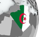 Map of Algeria with flag. Algeria on political globe with embedded flag. 3D illustration Stock Image