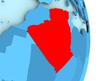 Map of Algeria in red. Algeria in red on simple blue political globe with visible country borders. 3D illustration Stock Images