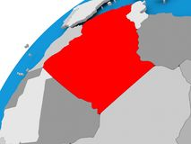 Map of Algeria in red. Algeria on simple political globe with visible country borders. 3D illustration Royalty Free Stock Photo