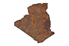 Map of Algeria on rusty metal Royalty Free Stock Photo