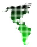 Map of America. In squares with green gradient Vector Illustration